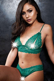 Smash Hit Teal Bralette & Crotchless G-String in S/M