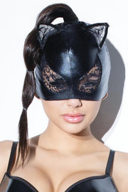 Wet Look and Lace Cat Mask