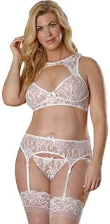 Bra, Garter & G-string Set White 2xl