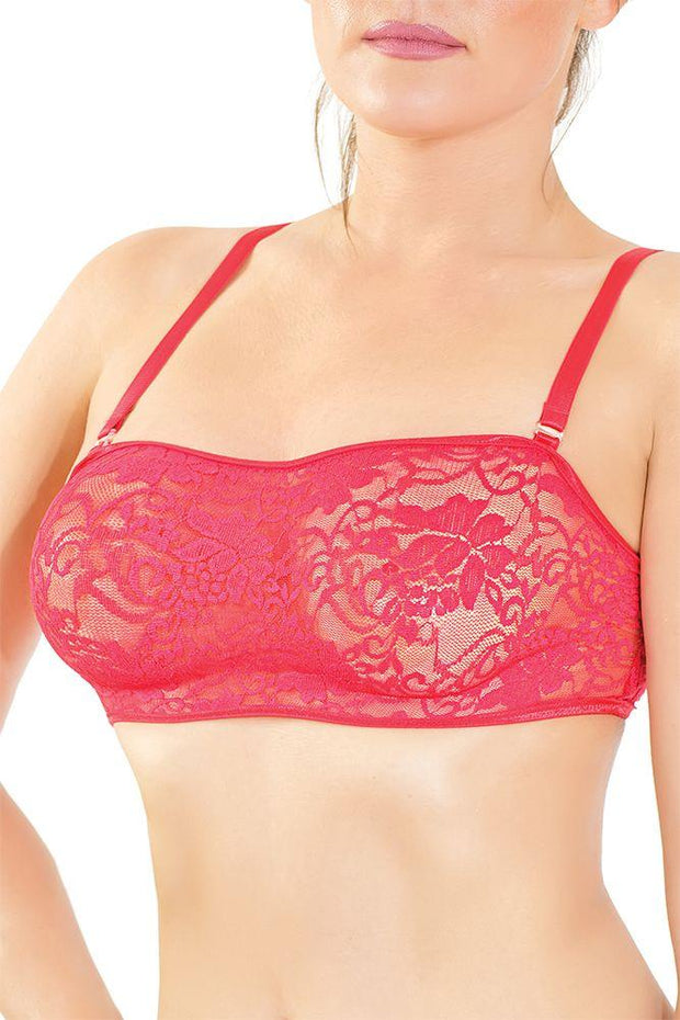 Red Floral Lace Bralette in OS