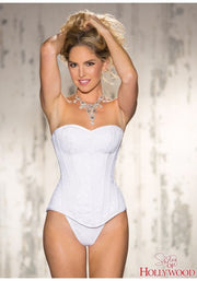 Corset G String Lace Overlay White 36