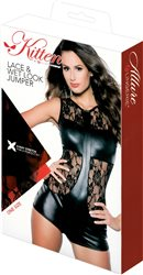 Kitten by Allure Lace & Wet Look Jumper, Black, One Size