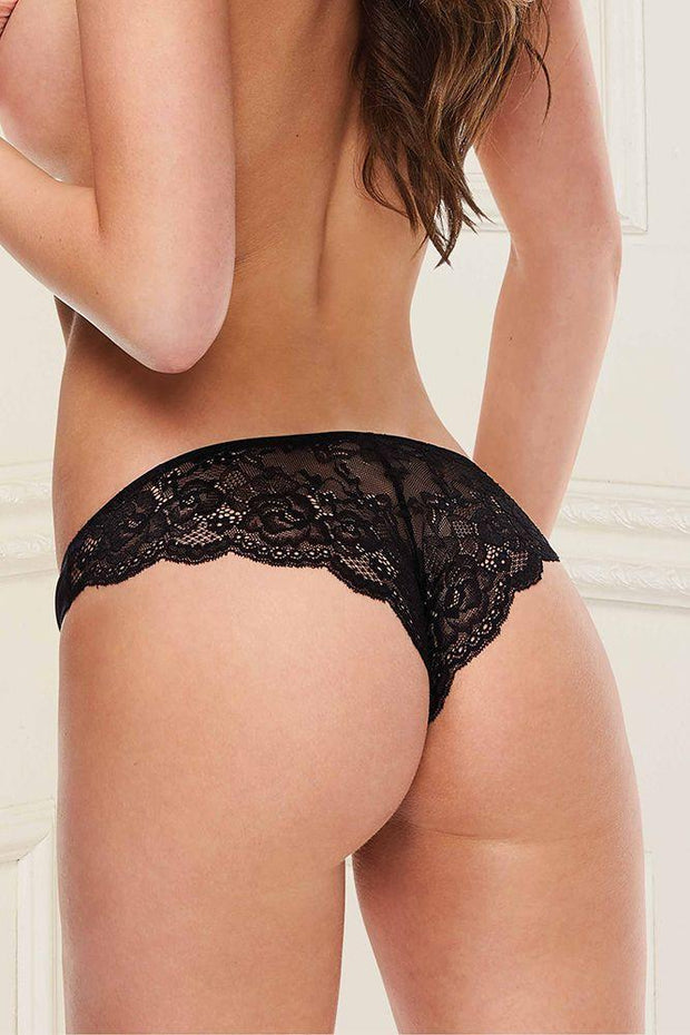 Make It Satin Black Lace Panty M