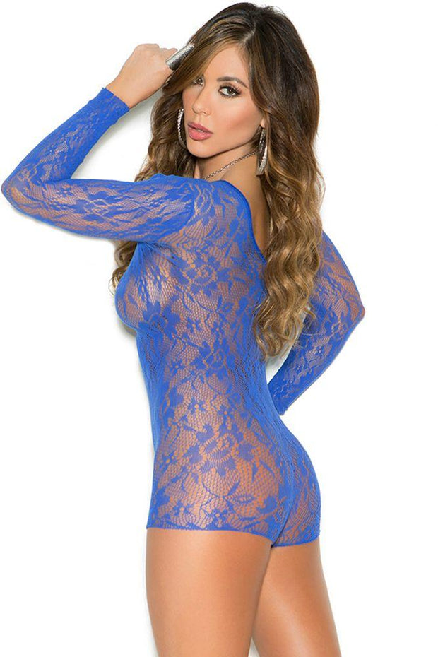 Peacock Blue Lace Romper