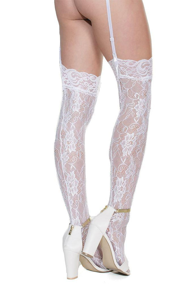Rhinestone Thigh High White Lace Stockings