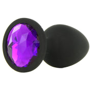 Booty Bling Small Jeweled Silicone Plug in Black/Purple