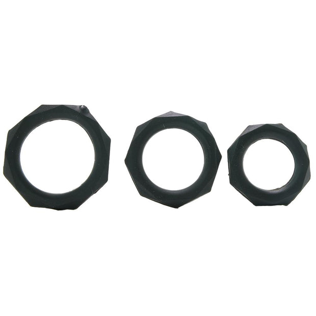 Silicone Designer Stamina Cock Ring 3 pack in Black