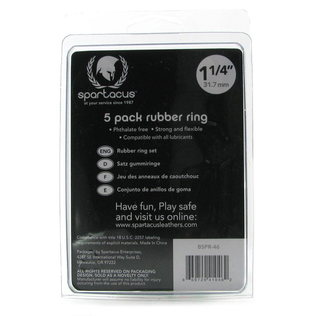 Rubber 1.25 Inch C-Ring 5 Pack in Rainbow
