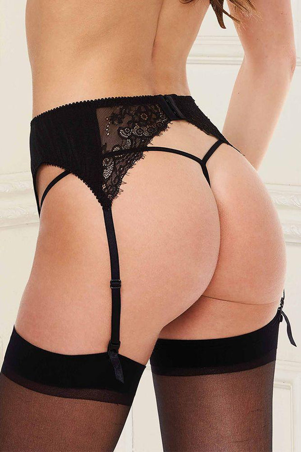 Satin Mesh Black Garter Belt L