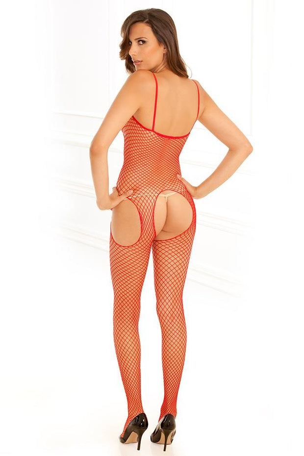 Industrial Net Red Suspender Bodystocking in OS