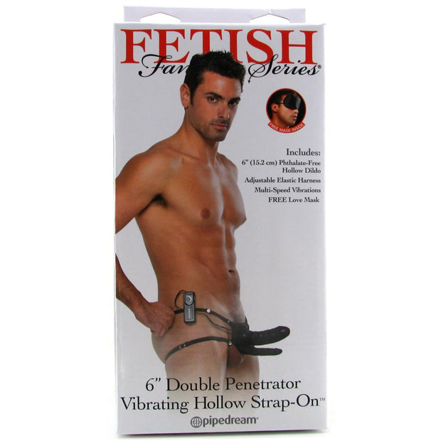 "6"" Double Penetrator Hollow Strap-On Vibe"
