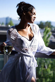 White Satin and Eyelash Lace Robe in OS