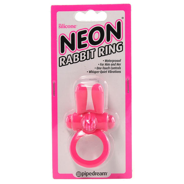 Neon Rabbit Vibrating Cock Ring in Pink