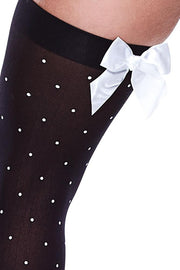 Polka Dot Opaque Thigh Highs in OS