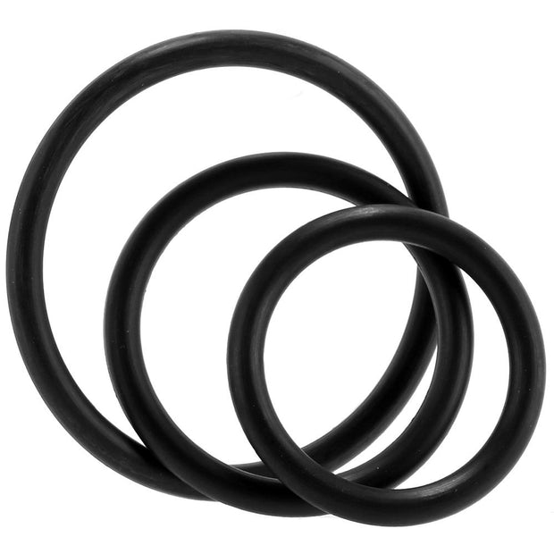 3 Pack Rubber Cock Ring in Black
