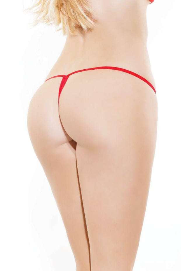 Deep Red Floral Lace G-String in OS