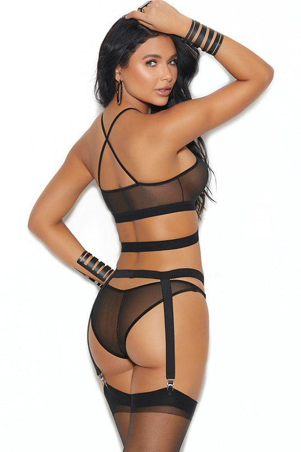 All About You Strappy Bralette, Panty & Garter Belt in OS
