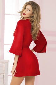 Cardinal Red Satin and Eyelash Lace Robe in OS