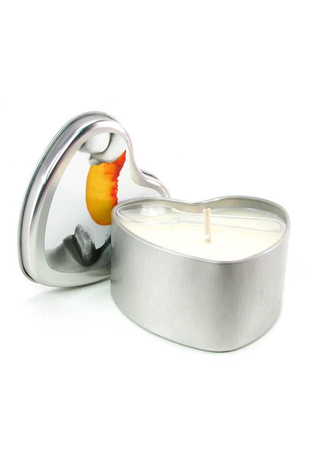 Edible Massage Oil Heart Candle 4.7oz/133g in Peach