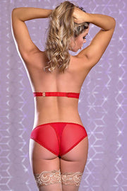 Risqué Business Red Cupless Bra & Crotchless Panty S/M