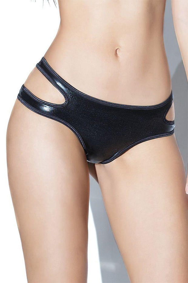 Black Wetlook Crotchless Panty in OSXL