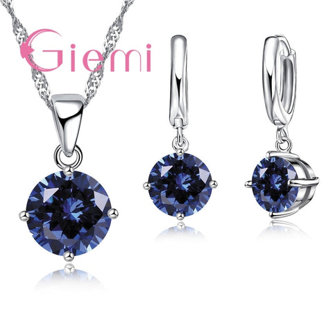 Crystal Pendant Necklace Earrings Set 925 Sterling Silver  Elegant Jewelry Set