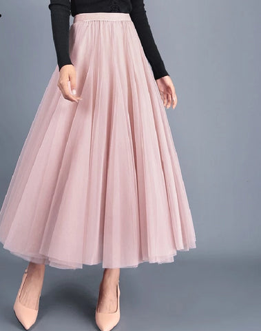 3 Layers Princess Tulle Skirts Vintage Solid Color Tutu Skirts