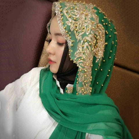 Hijabs Long Under scarf  Solid Color with Bead Prayer