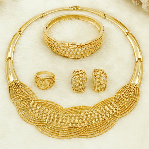 Bride Wedding Necklace Earrings Gold Jewelry Sets