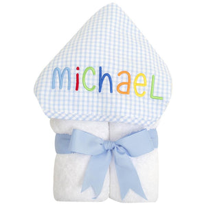 3 Martha's Blue Check EveryKid Hooded Towel