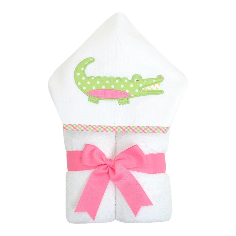 3 Martha's Pink Alligator EveryKid Hooded Towel