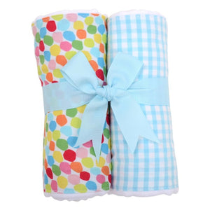 The burp cloths are one of our most practical products!  Made from super absorbent, traditional cloth diapers, this set of two burp cloths is always a favorite, featuring beautiful fabrics sewn down the center of each burp. The set is presented beautifully rolled and tied with grosgrain ribbon - ready for gift giving with no extra wrapping required!