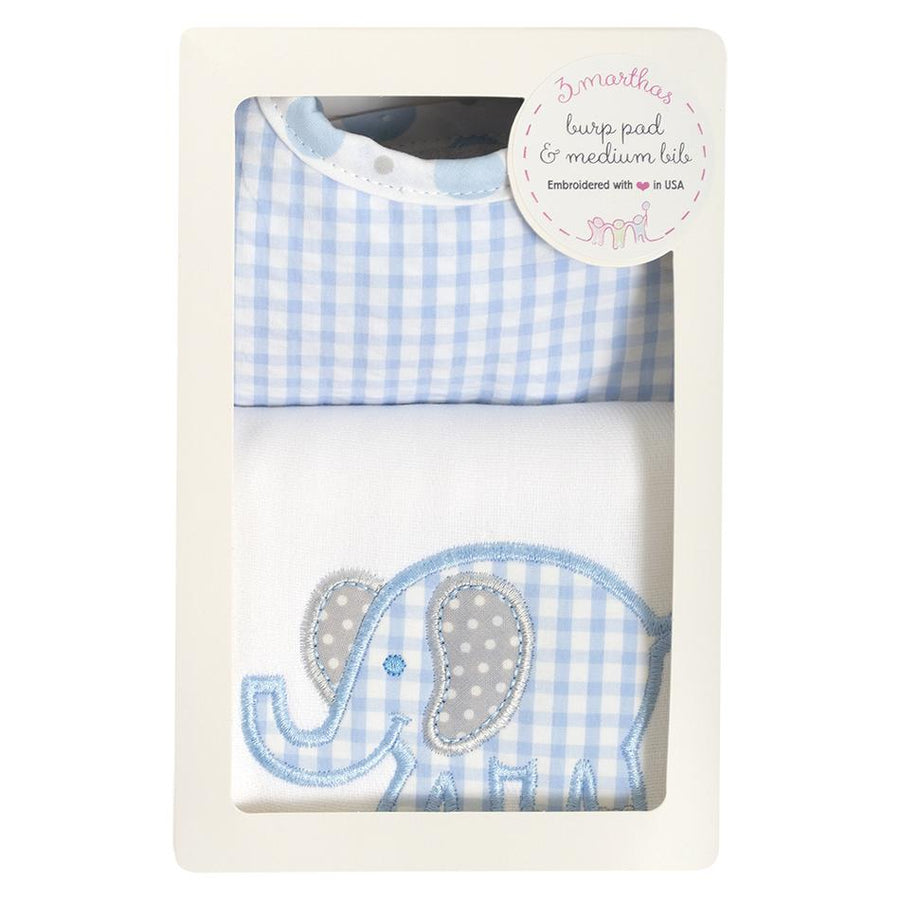 3 Martha's Blue Elephant Bib & Burp Box Set
