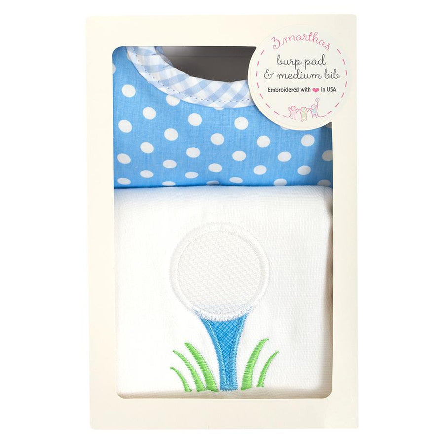 3 Martha's Golf Bib & Burp Box Set