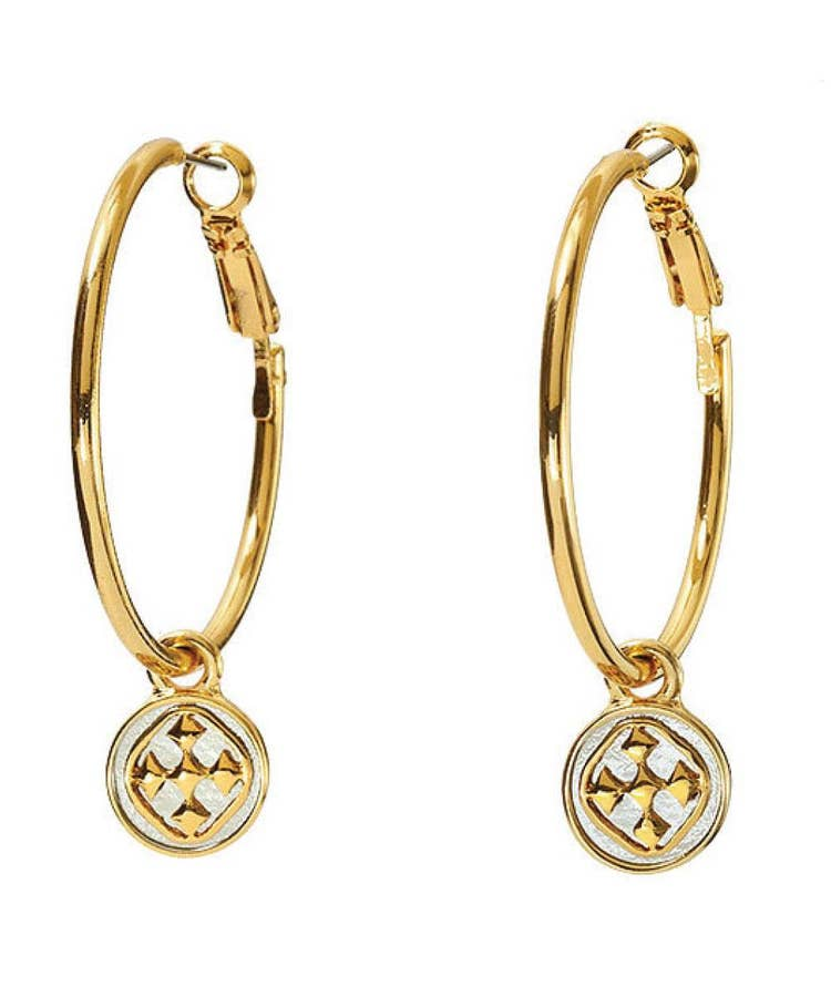 Linked Medallion Wire Hoops-Gold Plated or Rhodium