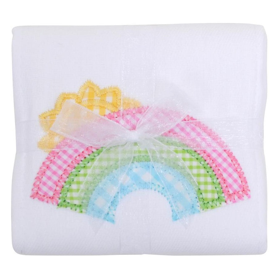 The burp cloths are one of our most practical products!  Made from super absorbent, traditional cloth diapers, these burp cloths feature one of our signature appliques and come tied with grosgrain ribbon. The burps are an easy and useful gift to bring to new parents at the hospital, with a meal or on their own