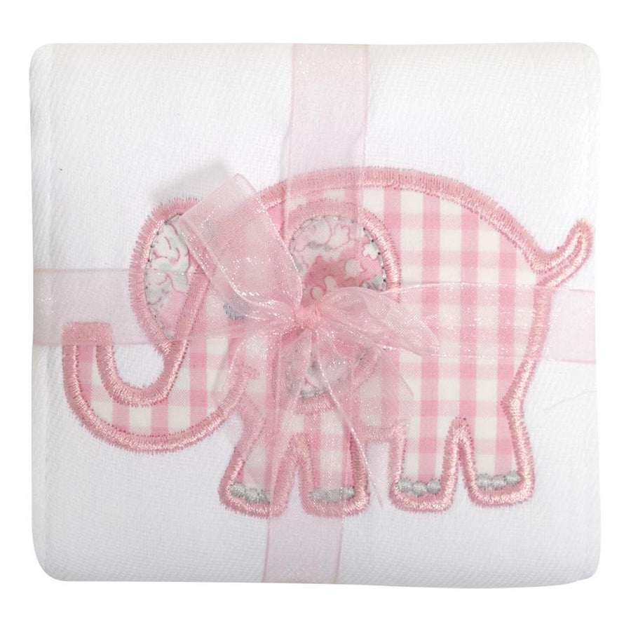 3 Marthas Pink Elephant Appliqued Burp Cloth
