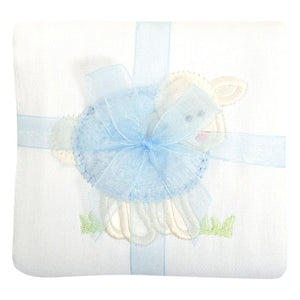 3 Martha's Blue Lamb Appliqued Burp Cloth