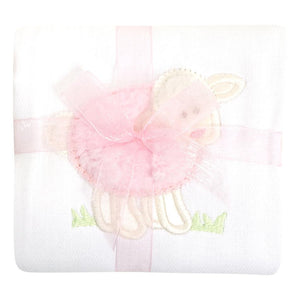 3 Martha's Pink Lamb Appliqued Burp Cloth