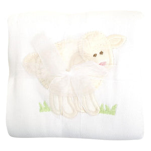 3 Martha's White Lamb Appliqued Burp Cloth