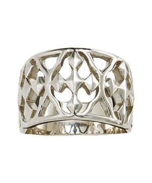 BANDED STERLING SILVER SHIELD OF FAITH RING-SIZES 6, 7, 8