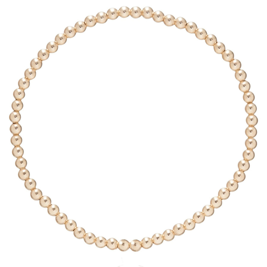 E Newton Classic Gold 3mm Bead Bracelet