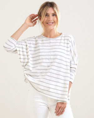 Catalina Slub Tee - White/Navy Stripe, White/Coral Stripe, White Gray Stripe