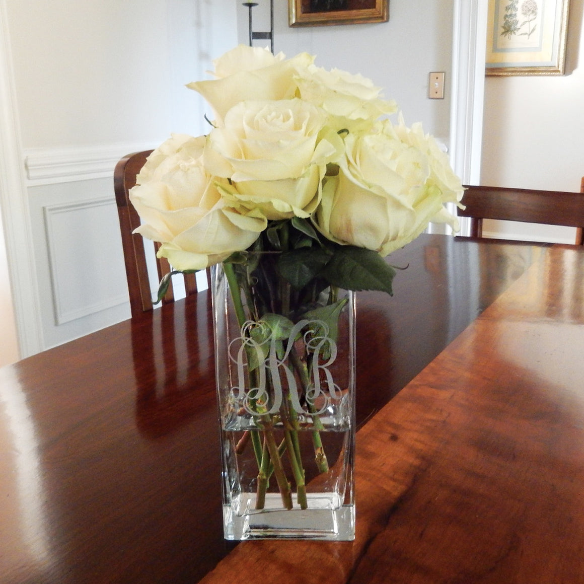 PERSONALIZED SQUARE VASE - 7 1/2""