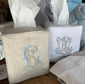 Linen Tissue Box Covers - White or Natural