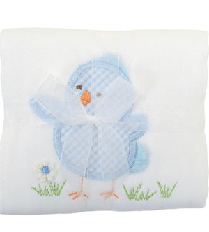3 Martha's Blue Chick Appliqued Burp Cloth