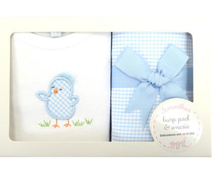 3 Martha's Blue Chick Set - Onesie and Burp