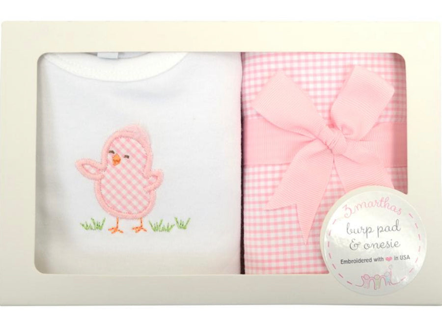 3 Martha's Pink Chick Set - Onesie and Burp