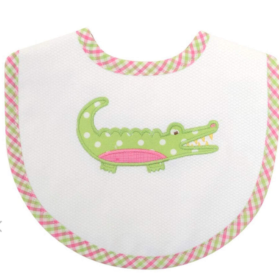 3 Martha's Pink Alligator Bib