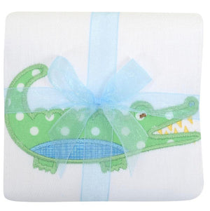 3 Martha's Blue Alligator Appliqued Burp Cloth